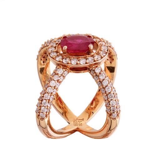 انگشتر ياقوت قرمز 74356 B گوهربين goharbin