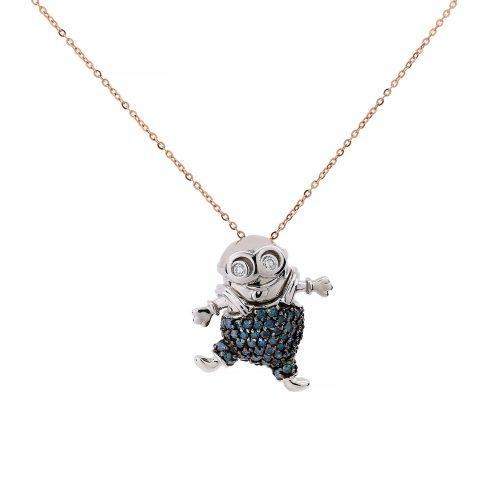 Minion Brilliant Blue diamonds Medal pendants
