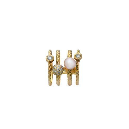 Goharbin Galaxy design pearl and diamond ring