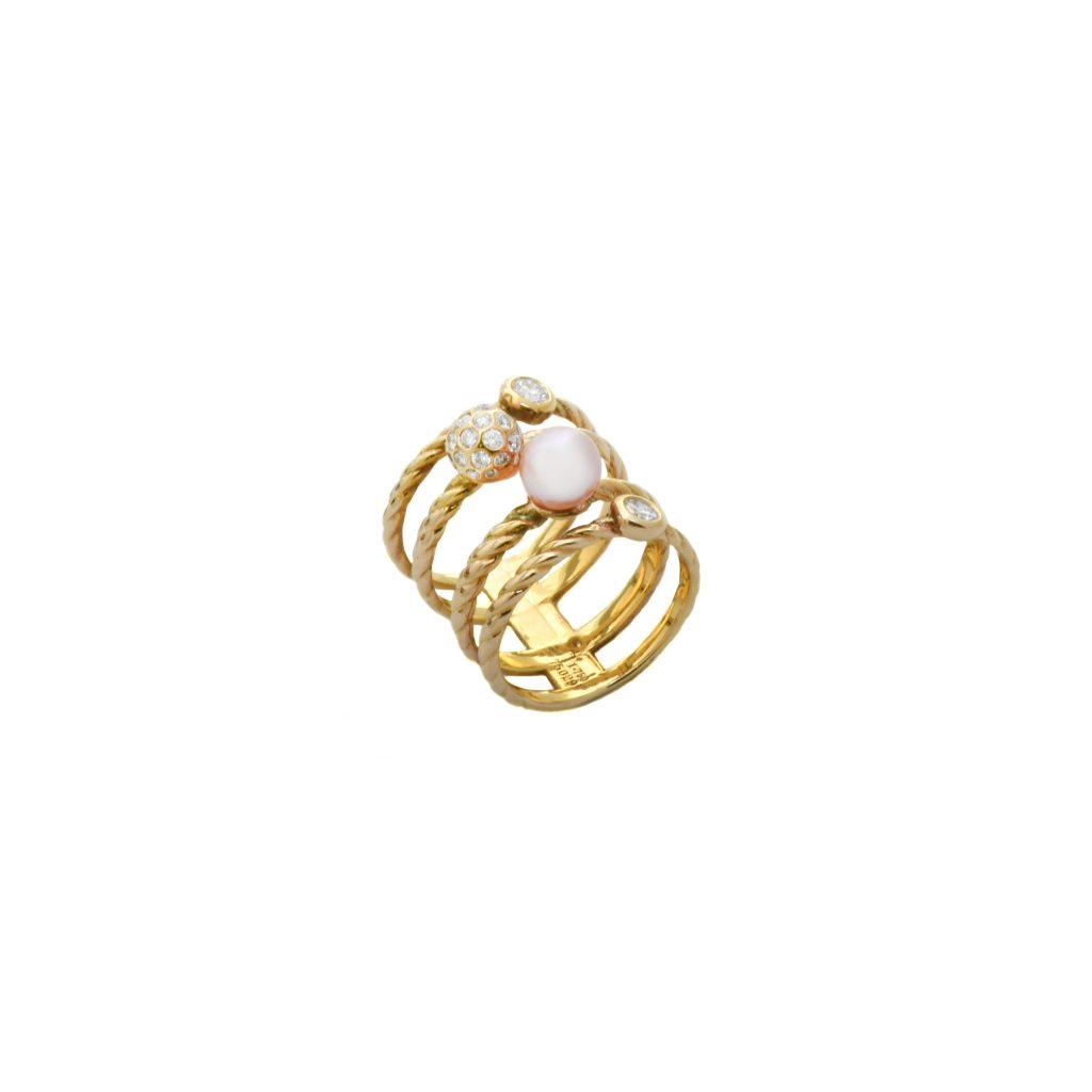 Galaxy design pearl and diamond ring2
