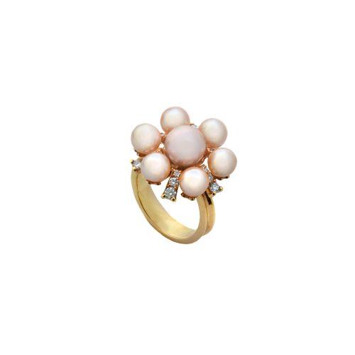 Goharbin pearl ring with Sun design