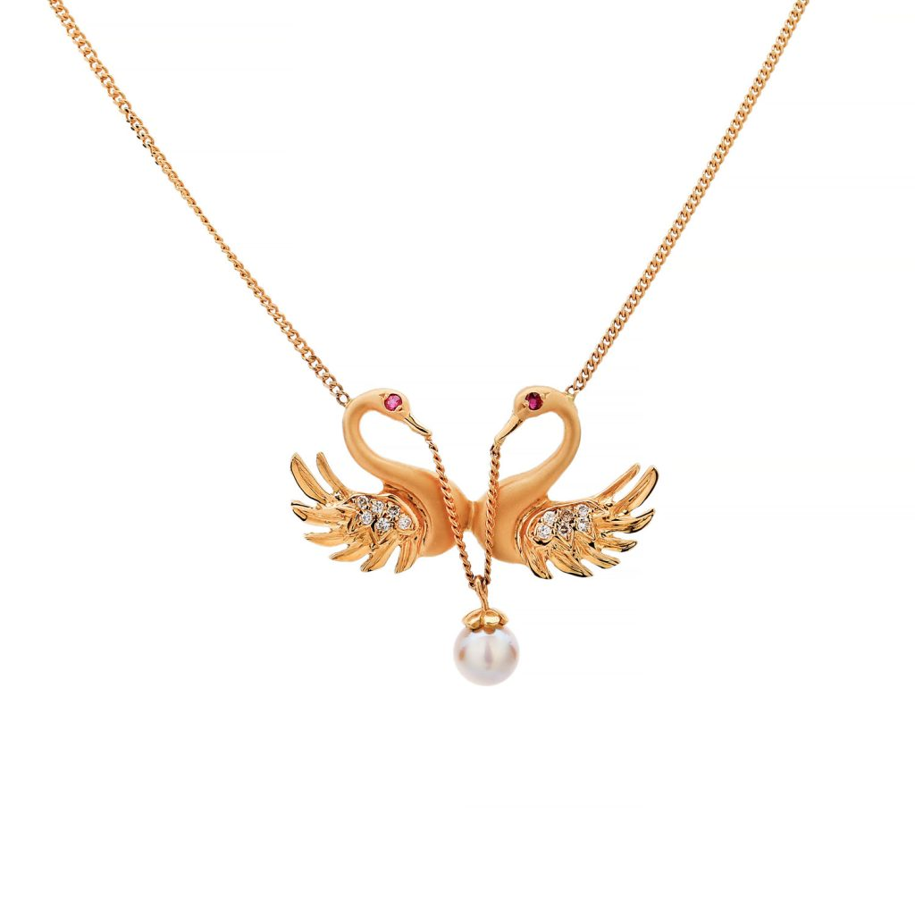 Swan Pearl Ruby Diamond Pendant Goharbin Medal