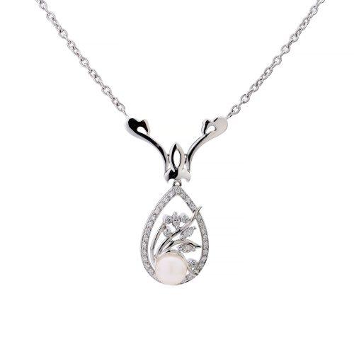 Pearl Diamond Tear Pendant Goharbin Medal