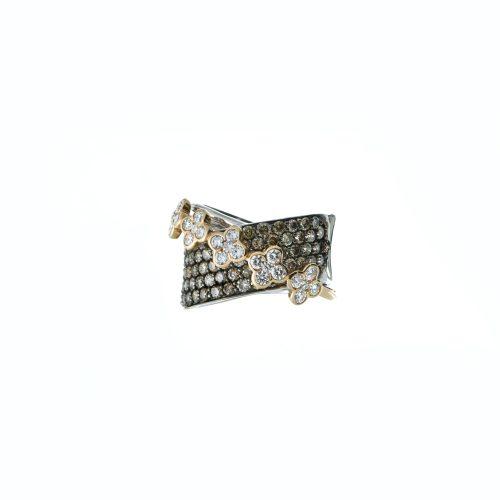 Cross diamond ring